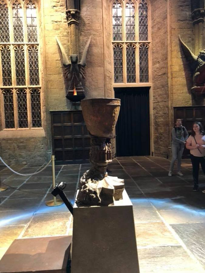 Photo shows the Goblet Of Fire standing in Great Hall surrounded by the 'age circle'.