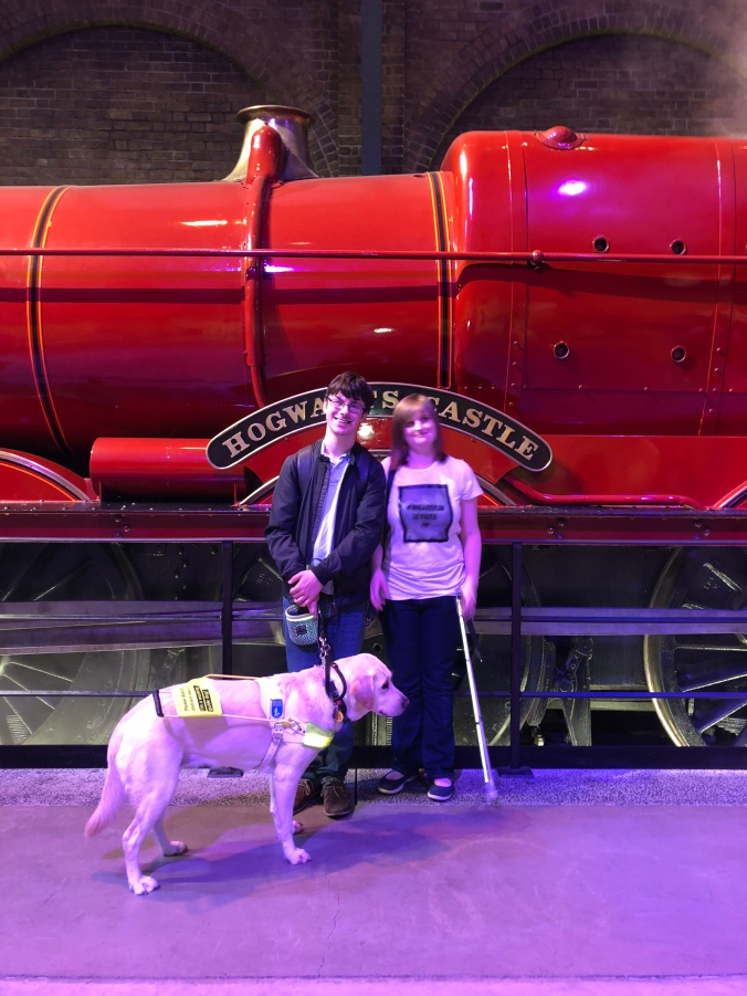 photo shows me, my girlfriend and blossom standing in front of the Hogwarts Express