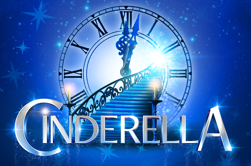 Image shows the title image of Cinderella, with a blue background in the foreground shows a clock face striking midnight and a flight of stairs!